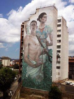 "Aryz ""Priapus and Demeter"" New Mural - Granollers, Spain"
