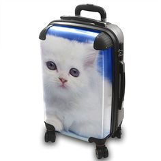 Cats 10004, Lightweight Hard Case Luggage Shell Spinner Trolley Travel Bag, 360 Degree 4 Wheel Spinner Set with interchangeable Motive. Size S Small Cabin Approved.