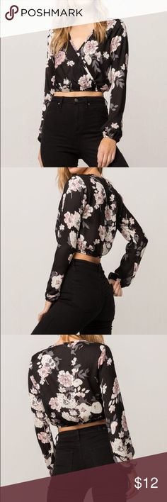 Tilly's Floral Surplice Womens Crop Top Lightweight gauze top with an allover floral print. Surplice front with a v-neck and snap button closure. Long sleeves with elastic cuffs. Elasticized crop hemline. 100% polyester. Hand or machine wash. Imported. Tilly's Tops Crop Tops