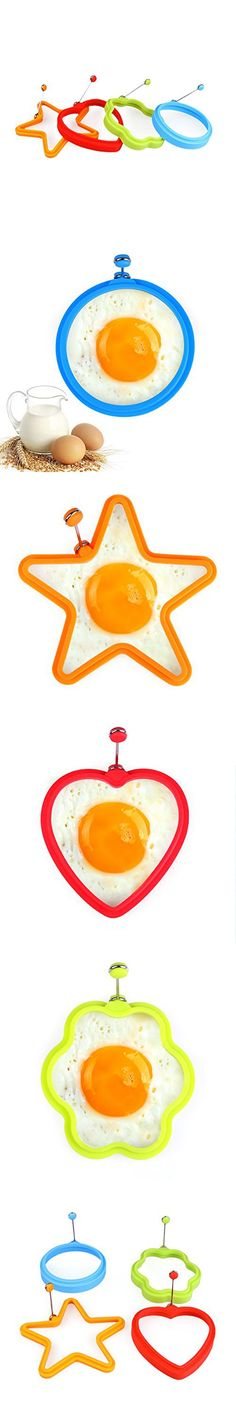 New Delidge Silicone Egg Ring Cooker-Pancake Mold Breakfast Sandwiches Use, Set of 4 (Mix)