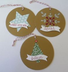 """Snowflake thinlits, Good Greetings stamp set, Nordic Noel DSP, 1-3/4"""" Circle Punch used on Crumb Cake cardstock, Ttar framelits and Bitty Banner framelits. A Stamping Journey created these. Stampin' Up!"""