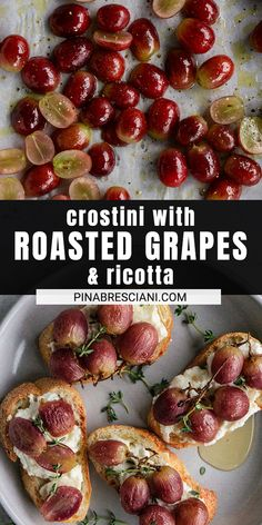 Chicken Appetizers, Vegetarian Appetizers, Appetizer Recipes, Vegetarian Recipes, Bruschetta Chicken, Roasted Grape Recipes, Delicious Dinner Recipes, Yummy Food, How To Make Crostini