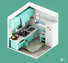#kitchen #architecture #lowpoly #isometric #voxel #interior #blender