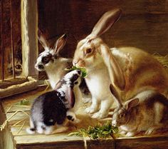 Food And Beverage Painting - Long-eared Rabbits In A Cage Watched By A Cat by Horatio Henry Couldery