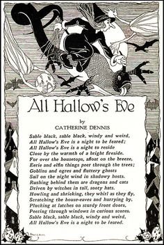All Hallow's Eve--Black and White--Vintage Halloween Illustration--Child Life…