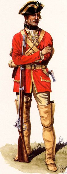 French;Infantry Regiment Guyenne, Officer in Summer Campaign Dress, 1775-60 by R.J.Marrion