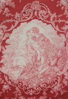Antique French Bucolic Toile Textile in Red.  Early 19th c Rococo Fragonard.