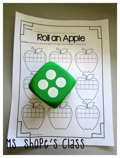 roll an apple center- a print and go center activity! love how the typical dice game has the ten frame added for student practice! Preschool Math, Teaching Kindergarten, Math Classroom, Fun Math, Kindergarten Apples, Classroom Ideas, Math Resources, Math Activities, Apple Activities