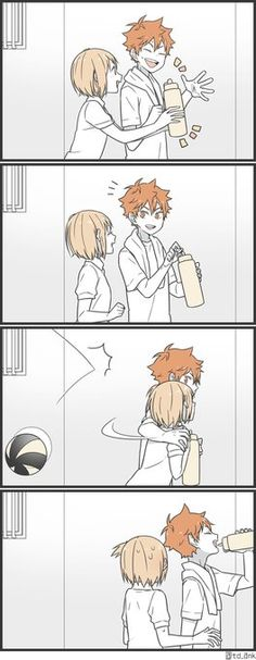 Aww... they're so cute!!! And Hinata's reaction is so fast! Yachi-chan is so lucky~ || Haikyuu!!