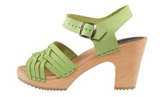 Herringbone Lime Green Clog - New higher heel with open toe. Solid lime green soft nubuck leather upper with a stapled construction on high 3-inch heel on a lightweight wooden foot bed with an earth-friendly, non-slip rubber bottom. It will give any outfit a springtime punch-up. Available in Adults' sizes 35-42. SKU #4003015. Order here: http://store.capeclogs.com/Bohemian-4-2.aspx.