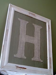 Burlap framed monogram