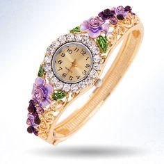 """""""Весна"""" - винтажные кварцевые женские позолоченные часы-браслет с цветами и…"""