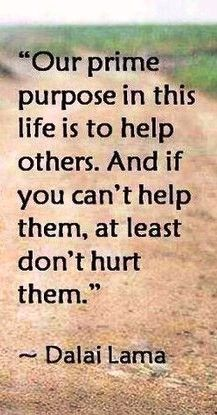 Our prime purpose in this life is to help others. And if you can't help them, at least don't hurt them~~Dalai Lama