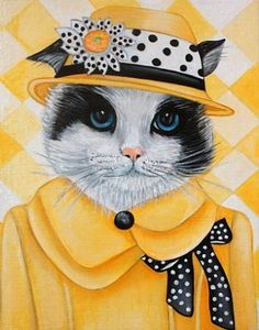 New Series  Cats in Clothes Paintings Ms Peabody  by k Madison Moore, painting by artist k. Madison Moore