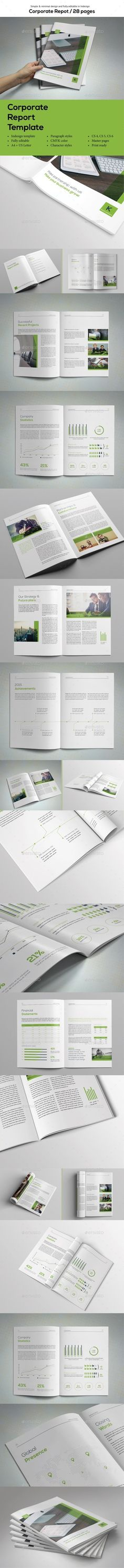 Simple Corporate Report Template InDesign INDD. Download here: http://graphicriver.net/item/simple-corporate-report/14660693?ref=ksioks
