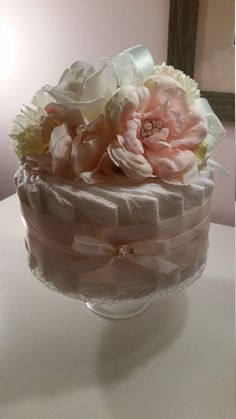 Baby Shower Shabby Chic Centerpiece 1 Tier Diaper Cake  Pink
