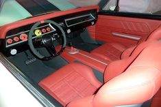 Auto Upholstery - The Hog Ring - M&M Hot Rod Interiors 1967 Chevelle custom red black seats pro touring yellow grey interior tiburon interior Chevy Chevelle Ss, Car Upholstery, Black Doors, Gray Interior, Latest Cars, Panel Doors, Hot Rods, Bmw, Car Interiors