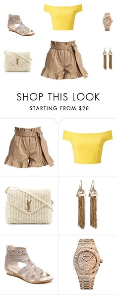 """ruffle shorts"" by edith-a-giles ❤ liked on Polyvore featuring Cinq à Sept, Miss Selfridge, Yves Saint Laurent, Alexis Bittar and Audemars Piguet"