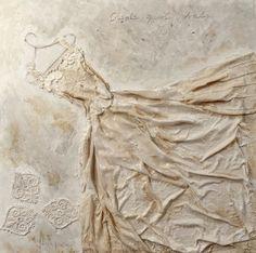 wedding dress series, by Babi Sugarman  Mixed media on wood