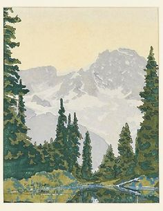 "✨ Wendell Corwin Chase, American (1897-1988) - Mirror Lake, 1927. Woodcut in colors, signed, titled and dated; 9 1/2"" x 7 1/2"""