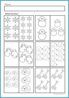 Math Worksheets & Activities - Winter (Beginning Skills). 43 pages. A page from the unit: Which has less