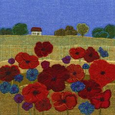 """Poppies"" - Harris Tweed needle felted paintings, giclee prints & greetings cards by Jane Jackson. www.brightseedtextiles.com"