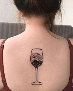 60 Cute Summer Tattoo Art Design Ideas For Woman:Wave In Red Wine Glass Back Tattoo Tattoo Drawings, Body Art Tattoos, New Tattoos, Cool Tattoos, Tattoo Now, Back Tattoo, Glasses Tattoo, Wine Tattoo, Paris Tattoo