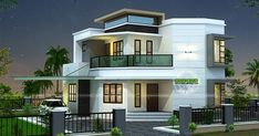 3 bedroom cute modern house plan in an area of 1838 square feet by R it designers, Kannur, Kerala.