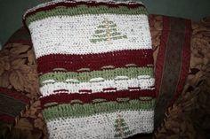 Crocheted Christmas tree afghan
