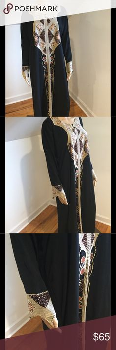Vintage Black Dress With Embellished Jewels Spectacular vintage black dress with embellished jewels. Long sleeves with angled wrists that are so artsy & fab! Pre loved & in great vintage condition. No tags approximately size large. No stains & from smoke free environment. All sales final no returns or exchanges. Thanks for shopping Style Solutions! Dresses Long Sleeve