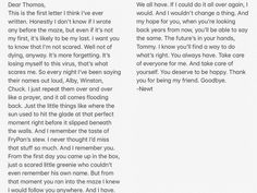 Newt's entire letter from The Death Cure movie...excuse me while I cry and possibly drown in my own tears