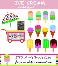 Instant Download – Ice Cream Clipart – Personal and Commercial Use – Digital Clip Art – Digital Graphics – Ice Cream Digital Clip Art