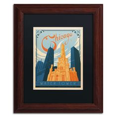 'Chicago Water Tower' by Anderson Design Group Framed Graphic Art