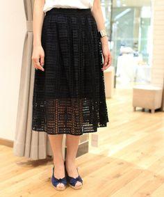 Spick & Span,インドセイ カットワークレース ミモレスカート