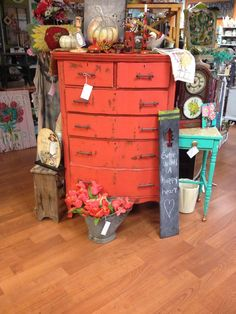 Gorgeous vintage six drawer dresser painted geranium red and distressed. One of a kind! Only at #MaisonStGermain #bedroom #vintage #woodbury #CT #shoplocal