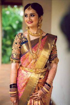 Bridal Sarees South Indian, Bridal Silk Saree, Indian Bridal Outfits, Indian Bridal Fashion, Bridal Lehenga, Silk Sarees, Wedding Saree Blouse Designs, Pattu Saree Blouse Designs, Half Saree Designs