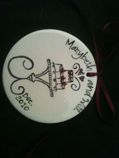 guest favors for December Wedding...personalized hand painted ceramic ornaments/with thank you for coming on the back