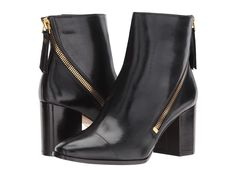 Donna Karan Alina Leather Bootie Women's Boots Black Baby Calf