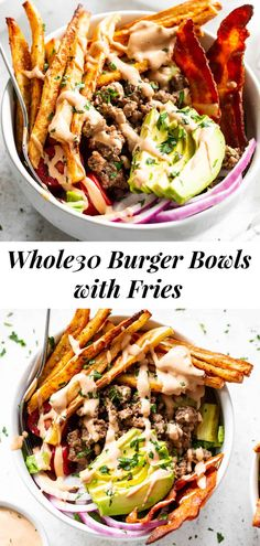 These loaded paleo burger bowls have all the goodies you love in a burger plus crispy baked French fries! Crispy bacon, pickles, tomatoes, onions, avocado, grass fed beef and special sauce.  These flavor packed bowls are Whole30 compliant too and seriously yummy! #paleo #whole30 #cleaneating Whole30 Dinner Recipes, Paleo Dinner, Paleo Recipes, Paleo Meals, Whole 30 Diet, Paleo Whole 30, Easy Whole 30 Recipes, Whole Food Recipes, Clean Eating Dinner