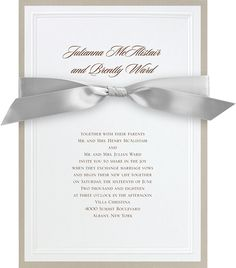 Mixed metal wedding invitation with ribbon. Silver + Gold. #loveyourinvites #mixedmetals