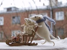 Winter walk. Mice with sledge'. handmade stuffed animals by Natasha Fadeeva. all rights reserved.