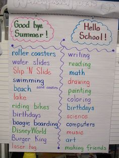 Beginning of school activity - Goodbye Summer - Hello School