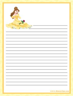 """""""Princesses"""": """"Belle in yellow dress"""" from """"Beauty & The Beast"""", as courtesy of Walt Disney Printable Lined Paper, Free Printable Stationery, Disney Scrapbook, Scrapbook Paper, Autograph Book Disney, Notebook Paper, Bullet Journal Art, Diy Gift Box, Stationery Paper"""