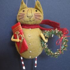 Christmas Kitty Ornament KIT by cheswickcompany. $10.00, via Etsy.