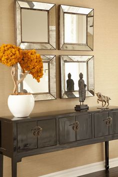 Beautiful entry table ideas to give some inspiration on updating your home or adding fresh and new furniture and decor, Hall table decor, Foyer table decor and Farmhouse sofa table. Hallway Decorating, Entryway Decor, Entryway Tables, Entrance Table, Decorating Ideas, Hallway Table Decor, Hall Tables, Entryway Stairs, Modern Entryway