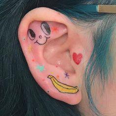 Ahhhhhhhhhhhhhh I can't believe I got the honor of tattooing Lily's ears! Your ideas bring me so much joy and… Bild Tattoos, Body Art Tattoos, Small Tattoos, Tatoo Angel, Pretty Tattoos, Cool Tattoos, Tatoos, Jagua Henna, Handpoke Tattoo