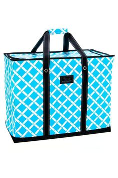 """Thistote iswater resistant and wipes clean. It featuresa rigid, reinforced leatherette bottom, strong woven handles with Velcro closure, a U-scoop zipper, andit folds flat for easy storage.    Measures 24""""W x 19""""H x 12""""D   Jumbo Zip-Top Tote by Scout by Bungalow. Bags - Totes Virginia"""