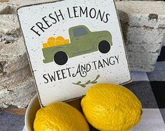 Lemon Crafts, Lemonade Sign, Lemon Wreath, Cute Signs, Kitchen Signs, Tray Decor, Hand Painted, Base Coat, Top Coat