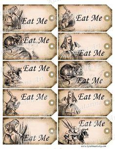 Alice In Wonderland Eat Me Tags Printable Templates Free Printables