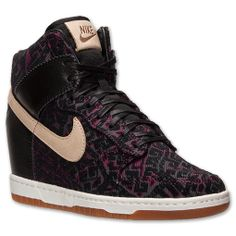 Women's Nike Dunk Sky High Premium Casual Shoes| FinishLine.com | Black/Raspberry Red/Linen